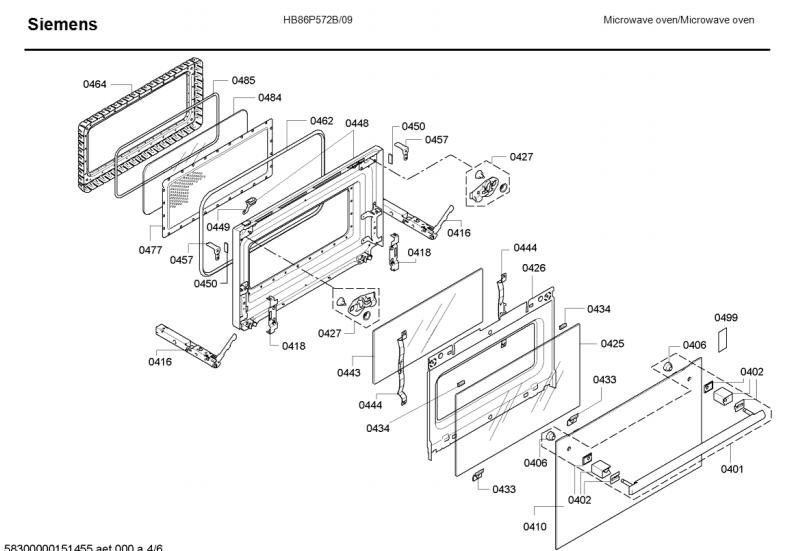 Siemens Combination Oven Spare Parts Hb86p572b 09