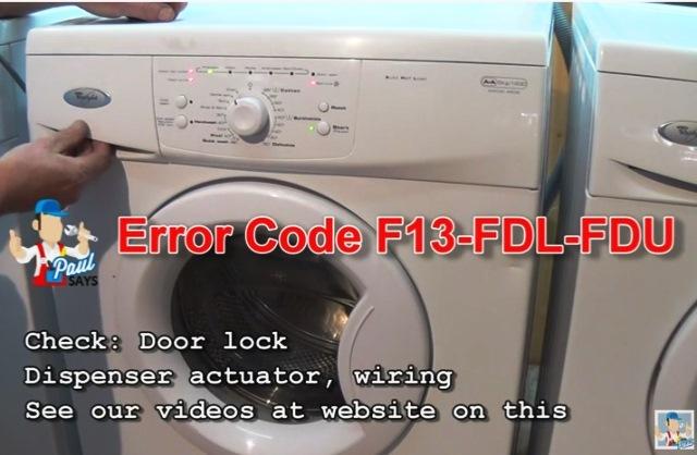 fault codes whirlpool washing machine