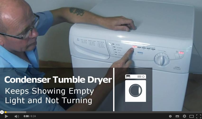 Condenser Tumble Dryer keeps showing the empty light and