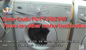 Whirlpool washing machine Error Code F6,F7,F06,F07