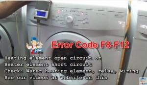 Whirlpool washing machine Error Code F8,F12