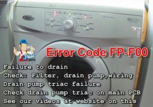 Whirlpool washing machine Error Code FP,F00