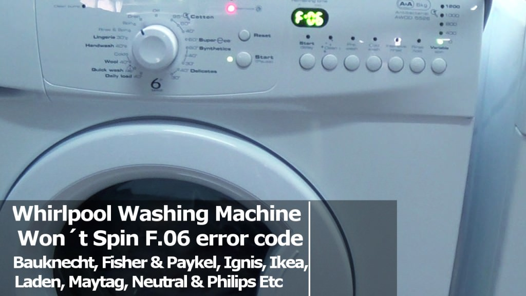 Whirlpool Washing Machine Won 180 T Spin F06 F06 F07 F09