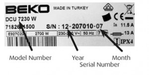 Beko tumble dryer model number