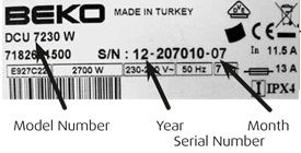 Beko dishwasher model number
