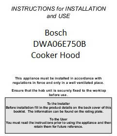 Maual for cooker hood extractor model number