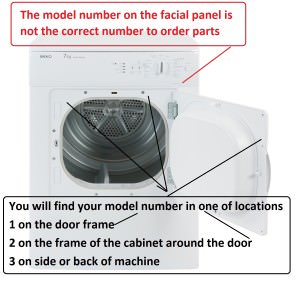 condensor tumble dryer model number location