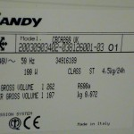 fridge freezer model number Candy hoover lec