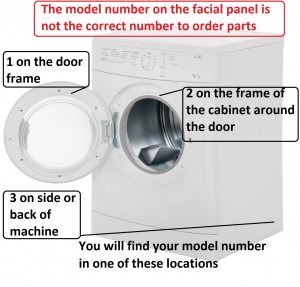 vented tumble dryer model number location