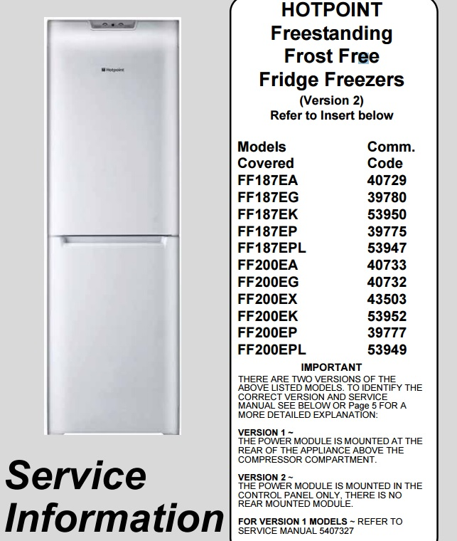 Workshop Service Manual Hotpoint Fridge Freezers