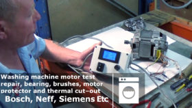 Bench testing a Washing machine motor repair, bearing, brushes, motor protector and thermal cut–out Bosch, Neff, Siemens